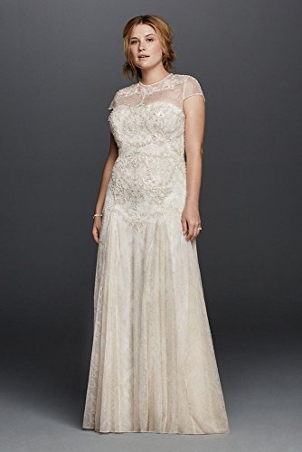 Lace Wedding Dress With Cap Sleeves Style D1919 : Lace plus size melissa sweet wedding dress with cap sleeves style