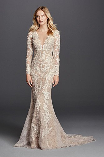 Lace Wedding Dress Long Sleeve Sheath With Illusion V